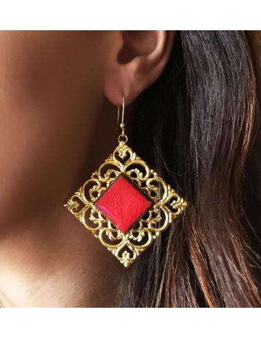 orecchini siciliani in pietra lavica - gioielli artigianali