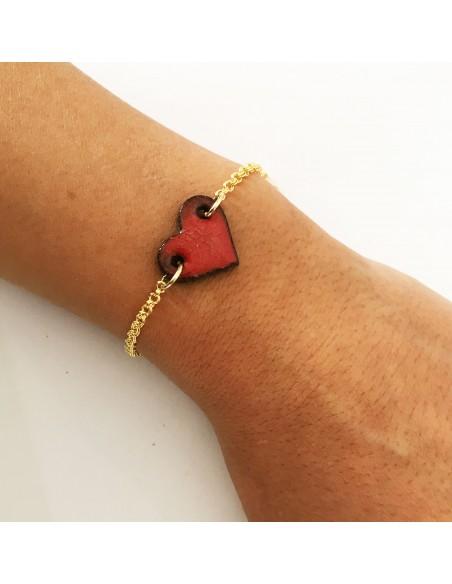 gioielli in pietra lavica - bracciale cuore in pietra lavica dell'Etna