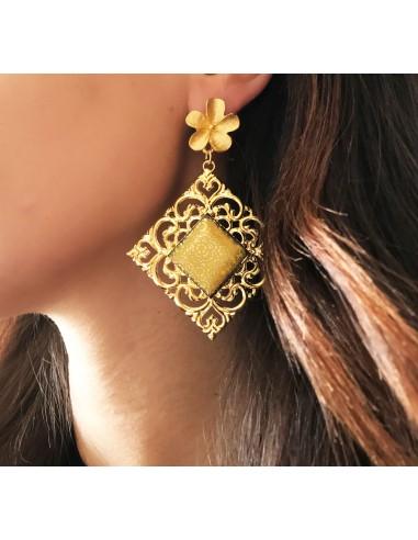 orecchini in pietra lavica dell'Etna - orecchini pendenti