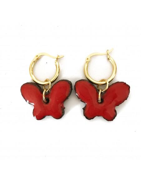 orecchini farfalla in argento e pietra lavica dell'Etna