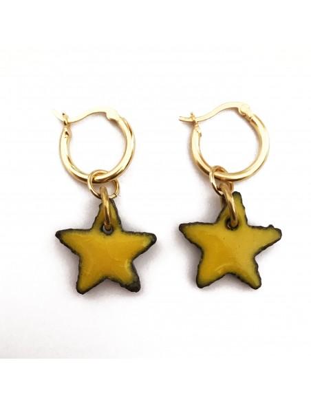 orecchini stella in pietra lavica dell'Etna - gioielli in pietra lavica