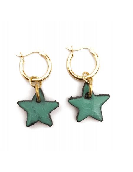 orecchini stella in pietra lavica  e argento sterling - gioielli siciliani