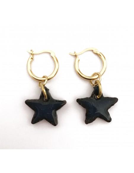 orecchini siciliani in pietra lavica - orecchini stella