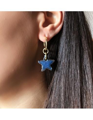 orecchini stella in lava dell'Etna  - orecchini pietra lavica