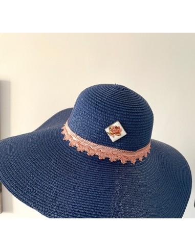 Cappello in paglia blu