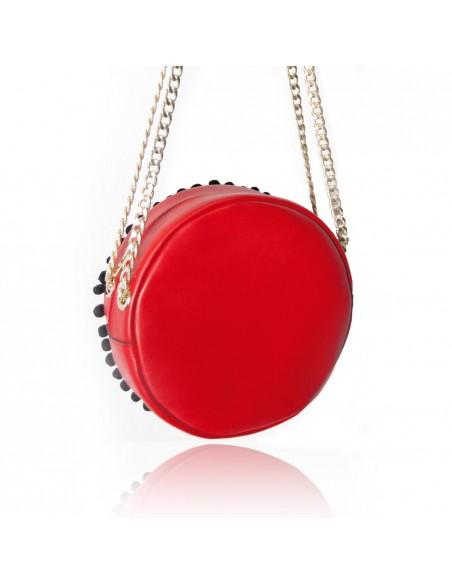 borsa siciliana rossa in pelle a spalla o tracolla con testa di moro