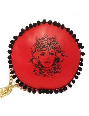 borsa tonda rossa con testa di moro - borsa siciliana