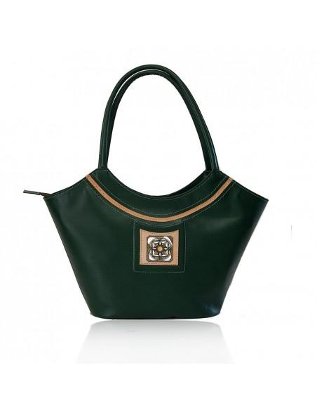 borsa siciliana in vera pelle con decoro Caltagirone - borsa a mano