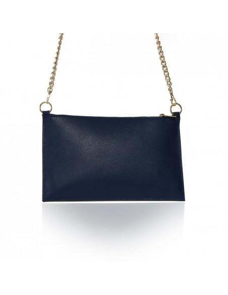 elegante pochette blu e bianca - borsa siciliana con pietra in lava