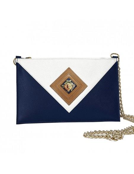 pochette in vera pelle bianca e blu - borse e accessori in pelle