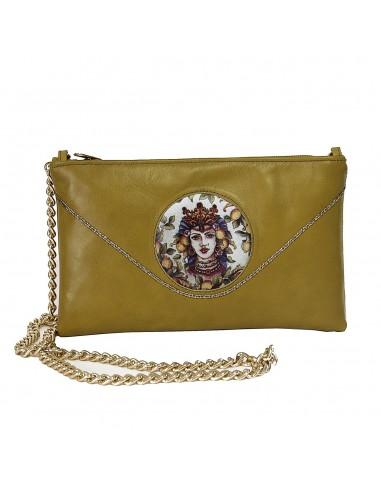 borsa siciliana con testa di moro - pochette da sera in vera pelle - testa di moro