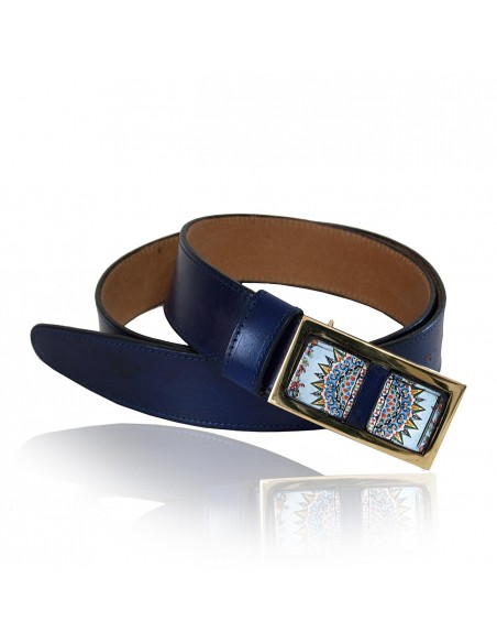 cintura blu da donna in vera pelle con pietra lavica dell'etna