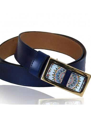 Cintura blu in vera pelle con decoro siciliano