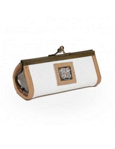 portamonete con mattonella in lava, decoro siciliano - pochette portamonete - souvenir siciliani