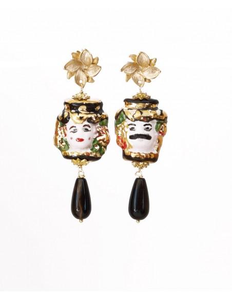 orecchini in ceramica teste di moro dipinti a mano con lustro in oro zecchino
