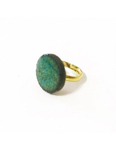 anello in pietra lavica color acqua marina