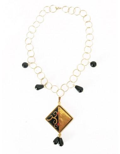 collana girocollo in argento 925 e charm in pietra lavica dell'Etna - collane siciliane