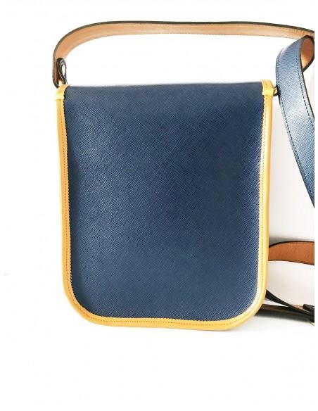 tracolla blu in vera pelle con decoro siciliano - borse siciliane