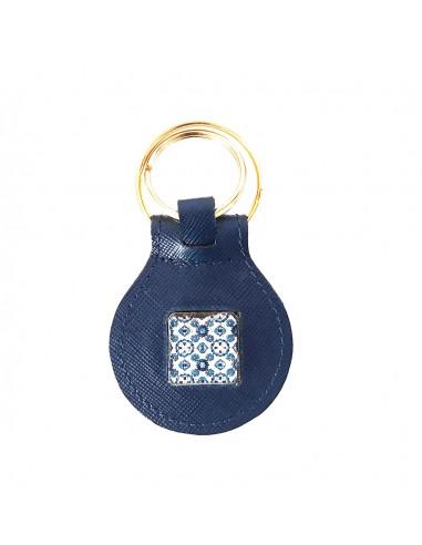 portachiavi blu uomo o donna in vera pelle con decoro maiolica - borse e souvenir siciliani