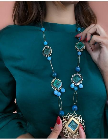 collana donna in argento e ciondoli in pietra lavica acqua marina