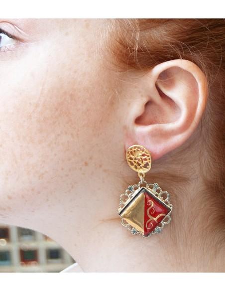 orecchini rossi pendenti in pietra lavica- orecchini in ceramica
