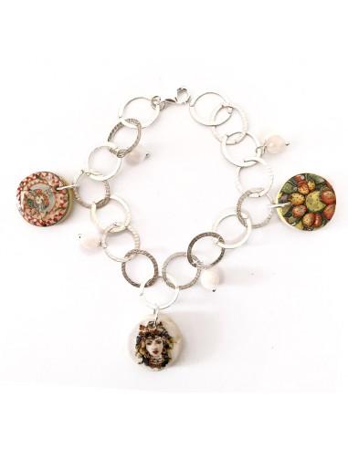 bracciale siciliano in argento 925 con charms in ceramica