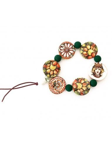 bracciale La Moramora con charms in ceramica testa di moro, fichi d'india e ruota di carretto